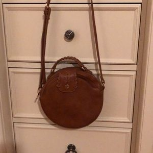 Sole society brown leather circle bag